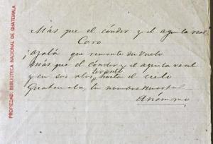 La letra  original del himno nacional se conserva en el Museo Nacional de Historia, zona 1.