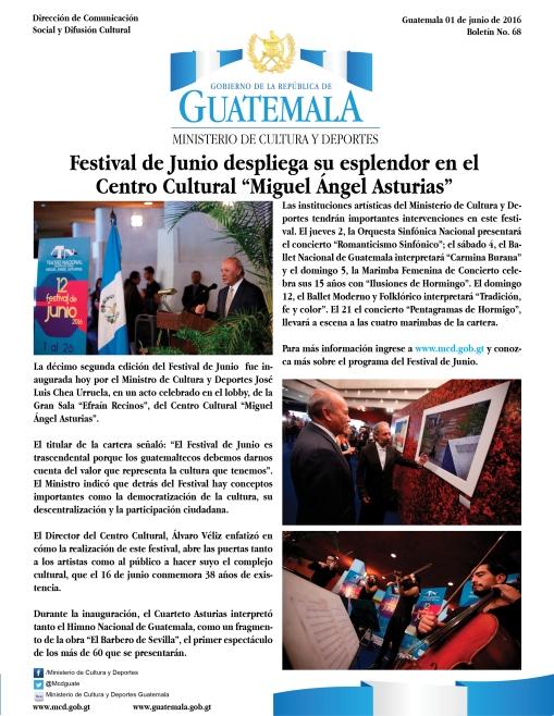 FESTIVAL DE JUNIO EN EL CENTRO CULTURAL MIGUEL ÁNGEL ASTURIAS
