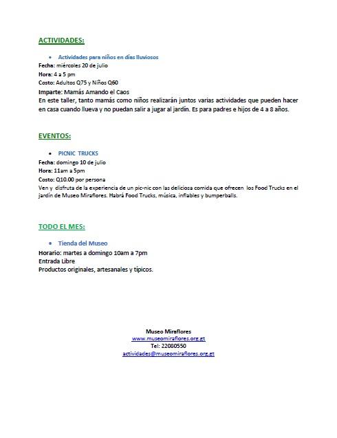miraflores agenda julio 2